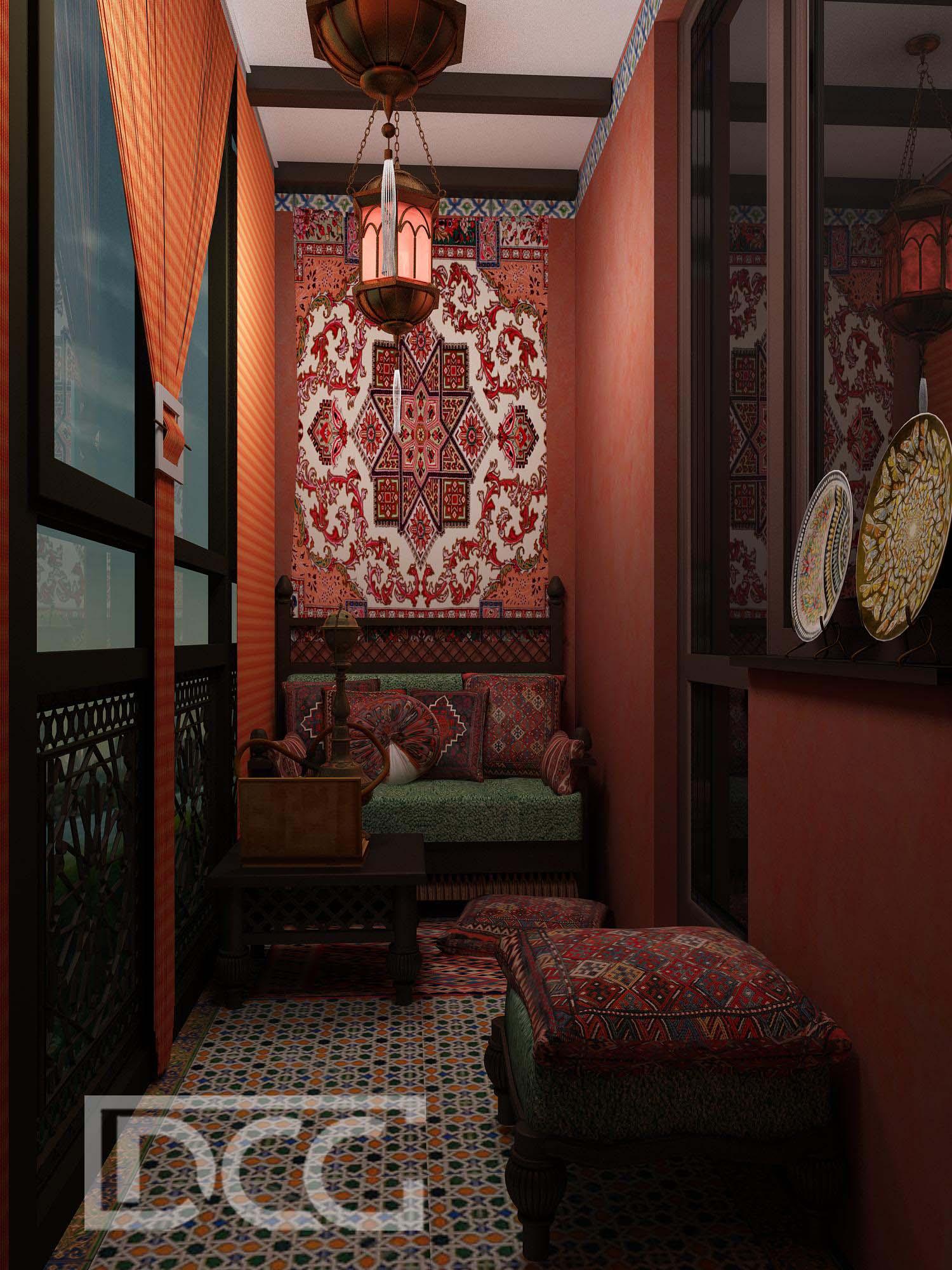 Дизайн балкона и лоджии в восточном стиле: фото интерьера.