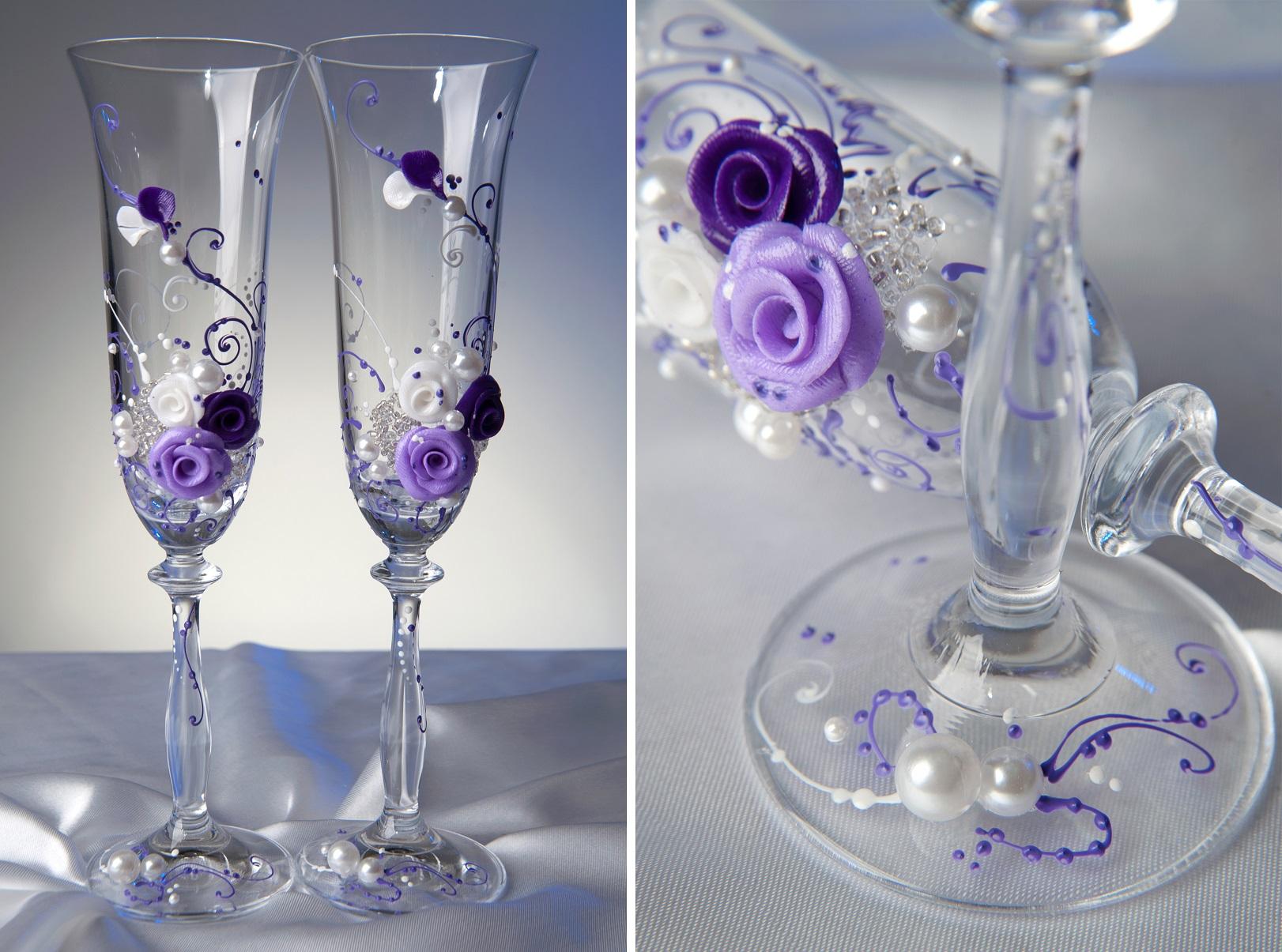 Как украсить хрустальные бокалы на свадьбу своими руками фото 64