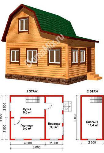 Дачный дом 5 на 6