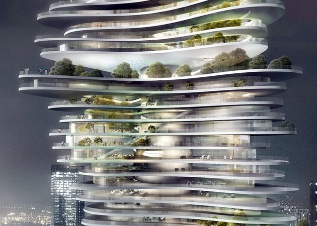 Разнообразие этажей и балконов башни