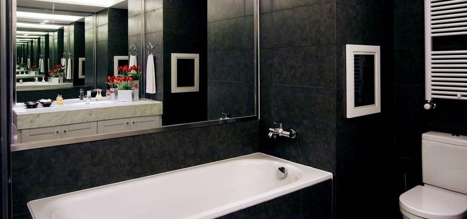 Ванна черно белая дизайн